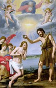 St John The Baptist Prints - The Baptism of Christ Print by Ottavio Vannini