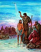 Baptist Paintings - The Baptism of Jesus by John Lautermilch