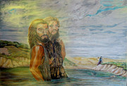 River Jordan Painting Posters - The Baptism of Yeshua Messiah Poster by Anastasia  Ealy