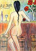 People Pastels Posters - The Bar maid.... Poster by Renate Dartois