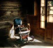 Cabin Interiors Posters - The Barber Shop - Bannack Ghost Town Poster by Thomas Schoeller