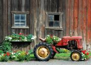 Barn Windows Posters - The Barn and Tractor Poster by Paul W Sharpe Aka Wizard of Wonders