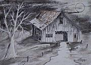 Watercolor Prints - THE BARN country pen and ink drawing Print by Derek Mccrea