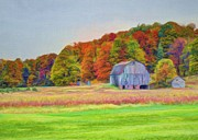Turning Leaves Digital Art Prints - The Barn in Autumn Print by Michael Garyet