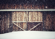 Barn Doors Art - The Barn in Winter by Lisa Russo