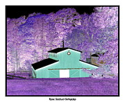 Artist4god Posters - The Barn Negative Inverted Effect Poster by Rose Santuci-Sofranko