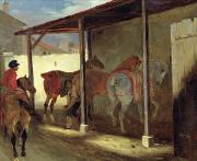 Saddle Paintings - The Barn of Marechal-Ferrant by Theodore Gericault