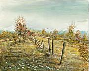 Farmland Painting Originals - The Barn Up The Hill by Samuel Showman