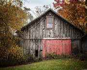 Dreamy Autumn Landscape Framed Prints - The Barn with the Red Door Framed Print by Lisa Russo
