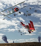 Bi-plane Prints - The Barons Demise Print by Garry Staranchuk