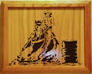 Woodcarving Sculpture Originals - The Barrel Racer by Russell Ellingsworth