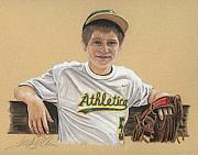 Sports Pastels Framed Prints - The Baseball Player Framed Print by Terry Kirkland Cook