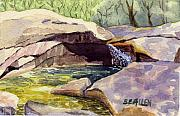 Franconia Notch Paintings - The Basin by Sharon E Allen
