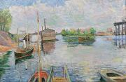 Paul Signac Framed Prints - The Bateau Lavoir at Asnieres Framed Print by Paul Signac