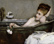 Woman In Water Painting Posters - The Bath Poster by Alfred George Stevens