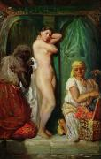 Showering Posters - The Bath in the Harem Poster by Theodore Chasseriau