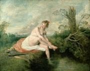 Bathers Framed Prints - The Bath of Diana Framed Print by Jean Antoine Watteau