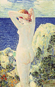 Naked Metal Prints - The Bather Metal Print by Childe Hassam