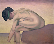 Crossed Framed Prints - The Bather Framed Print by Felix Edouard Vallotton