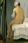Voyeuristic Framed Prints - The Bather Framed Print by Jean Auguste Dominique Ingres