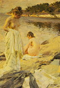 Sexy Framed Prints - The Bathers Framed Print by Anders Leonard Zorn