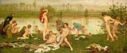 Riverbank Framed Prints - The Bathers Framed Print by Frederick Walker