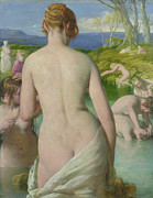 Woman Bathing Paintings - The Bathers by William Mulready