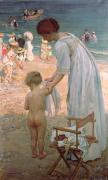 Baby Clothes Posters - The Bathing Hour  Poster by Emmanuel Phillips Fox