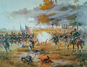 Us Flag Paintings - The Battle of Antietam by Thure de Thulstrup