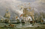 Flags Paintings - The Battle of Cape St Vincent by Richard Bridges Beechey