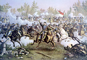 Cedar Creek Prints - The Battle Of Cedar Creek, October 19 Print by Everett