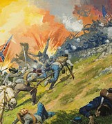Us Flag Paintings - The Battle of Gettysburg by Severino Baraldi