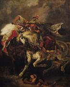 Poem Paintings - The Battle of Giaour and Hassan by Ferdinand Victor Eugene Delacroix