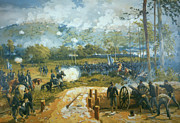Confederate Paintings - The Battle of Kenesaw Mountain by American School