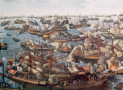 League Framed Prints - The Battle Of Lepanto, The Fleet Framed Print by Everett