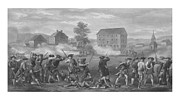 4th July Mixed Media Metal Prints - The Battle of Lexington Metal Print by War Is Hell Store