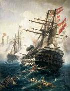 Galleons Painting Prints - The Battle of Lissa Print by Constantin Volonakis