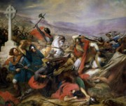 Ancient Painting Framed Prints - The Battle of Poitiers Framed Print by Charles Auguste Steuben