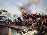 Battle Painting Framed Prints - The Battle of Pont dArcole Framed Print by Emile Jean Horace Vernet