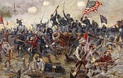 Us Flag Paintings - The Battle of Spotsylvania by Henry Alexander Ogden