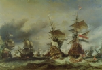 Galleon Posters - The Battle of Texel Poster by Louis Eugene Gabriel Isabey