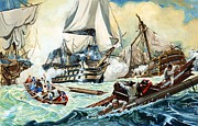 Swimmers Paintings - The battle of Trafalgar by English School