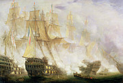 Battle Of Trafalgar Metal Prints - The Battle of Trafalgar Metal Print by John Christian Schetky