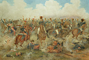 Charging Horses Prints - The Battle of Waterloo June 18th 1815 Print by John Augustus Atkinson