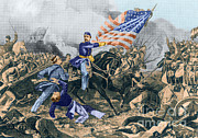 Confederate Flag Posters - The Battle Of Williamsburg, 1862 Poster by Photo Researchers