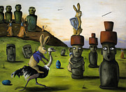 Ostrich Posters - The Battle Over Easter Island Poster by Leah Saulnier The Painting Maniac
