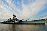Cruiser Digital Art Prints - The Battleship New Jersey at the Port of Camden Print by Bill Cannon