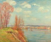 Banks Painting Framed Prints - The Bay and the River Framed Print by Jean Baptiste Armand Guillaumin