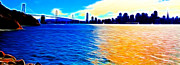 San Francisco Landmarks Digital Art Metal Prints - The Bay Bridge and The San Francisco Skyline . Panorama Metal Print by Wingsdomain Art and Photography