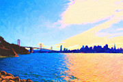 San Francisco Skyline Digital Art Prints - The Bay Bridge and The San Francisco Skyline Print by Wingsdomain Art and Photography